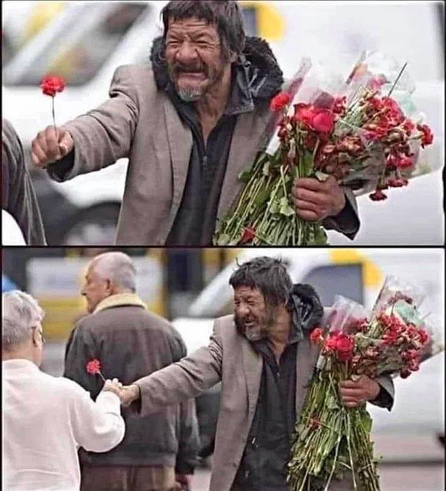 14. Evsiz adam, her gün satılmayan çiçekleri toplayıp sokaktan geçen insanlara gülümseyerek dağıtıyor ve herkesin mutlu olmasını istiyor: