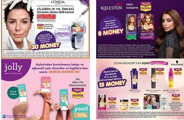 50. Kozmetik ve kişisel bakım ürünlerine özel Money kampanyaları da mevcut.