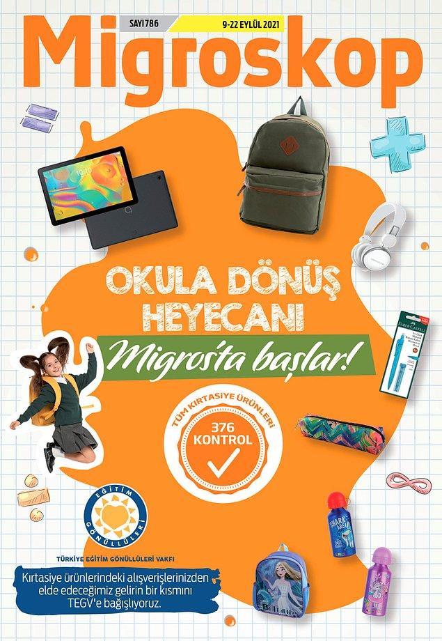 55. Migros'ta okul ürünleri kampanyaları devam ediyor. Migros'tan alacağınız kırtasiye ürünlerinin gelirinin bir kısmı TEGV'e bağışlanıyor.