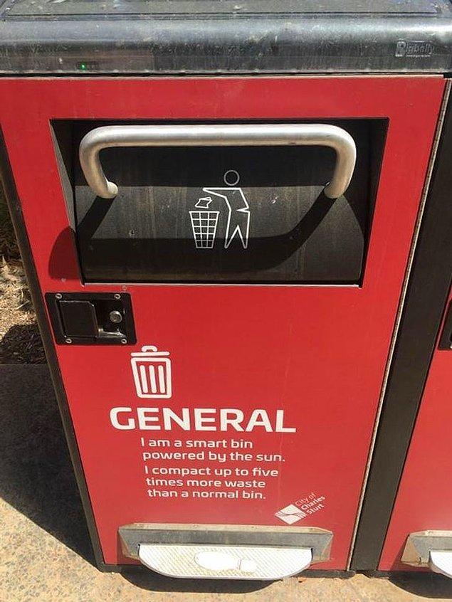 5. Güneş enerji sistemiyle çöpleri öğüten konteynırlar...🌎