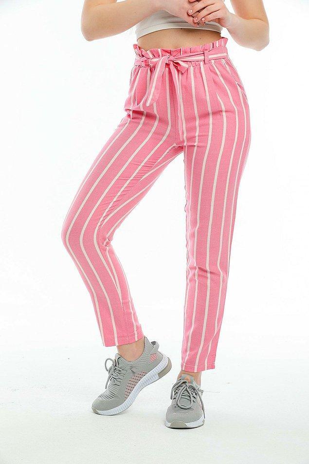 2. Daha renkli bir model isterseniz, pembe çizgili pantolon...