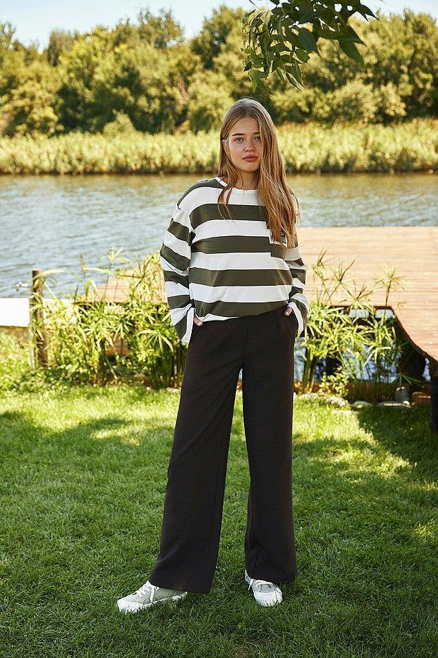 4. Siyah bol paça pantolon üstünüzde çok iyi duracak...