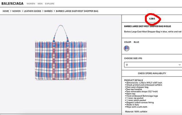 Aslında konu sadece eski pazar çantalarına benzemesi değil, 1500 Sterlin olan fiyatı!