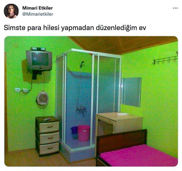 Twitter'da '@Mimarietkiler' adlı bir kullanıcı gördüğü enteresan evin fotoğrafını 'Sims'te para hilesi yapmadan düzenlediğim ev' diyerek paylaşınca olanlar oldu!😂