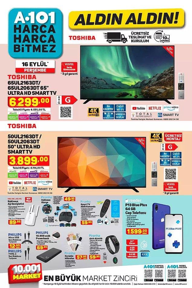 "A101'de bu hafta Toshiba 65"" Ultra HD Smart Tv 6.299 TL."