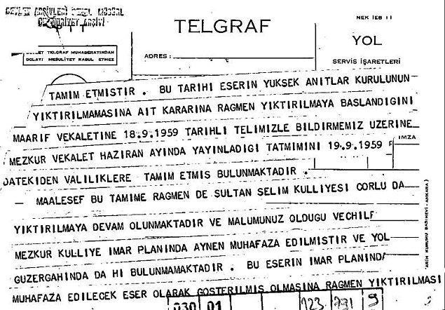 Yıkım işleri ne yalnızca İstanbul ile ne de trafik güzergahı ile sınırlı kalır. Kanuni'nin Mimar Sinan'a inşa ettirdiği Çorlu'daki külliye ve caminin yıktırılması mimarları ayağa kaldırır.
