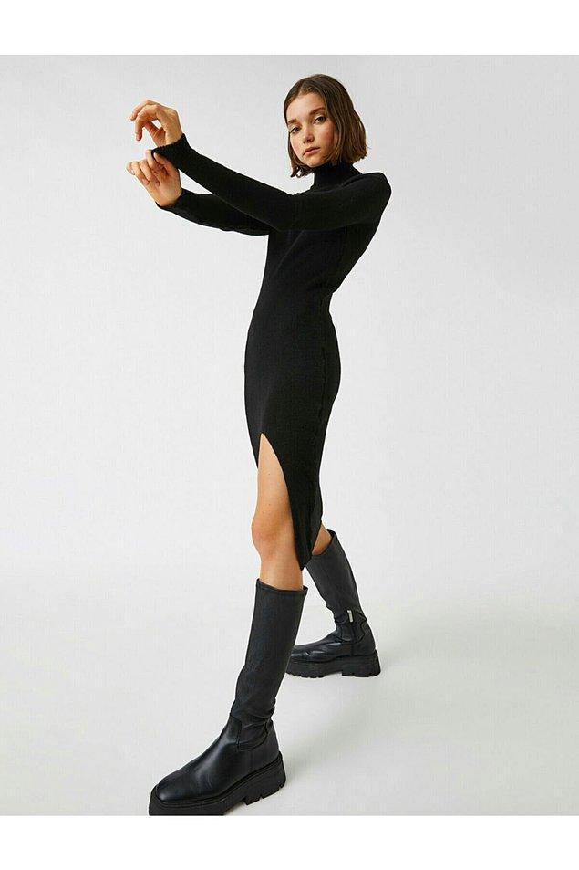 1. Koton elbise, derin yırtmacı ile iddialı bir model.
