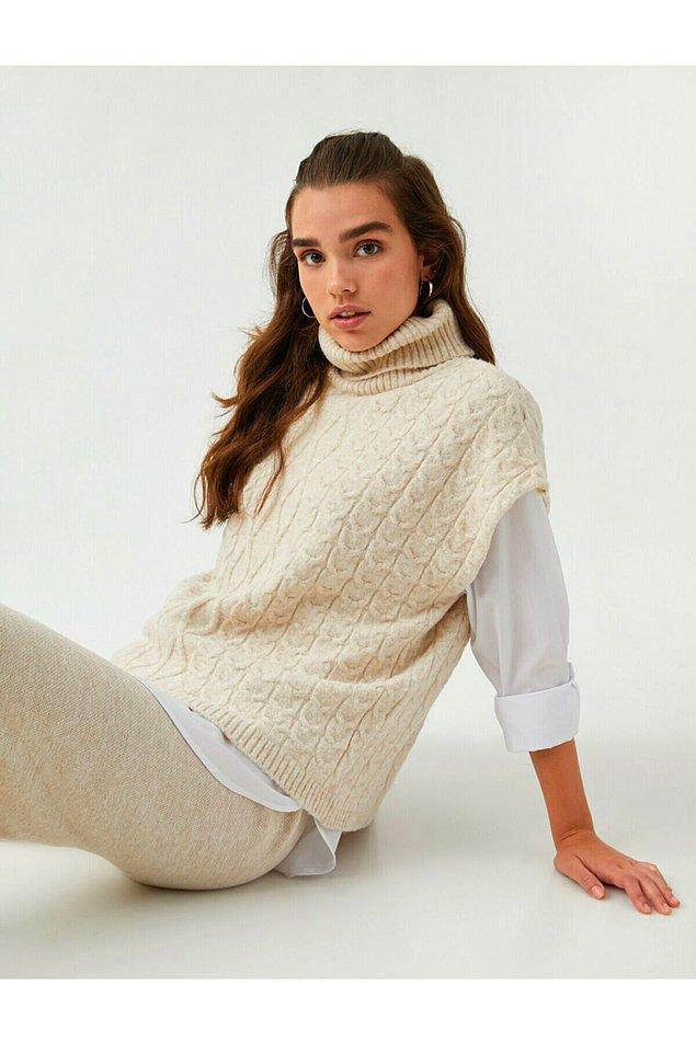 11. Boğazlı süveter, gömlek üzeri süveter modasına uymak isteyenler için şahane bir seçenek.