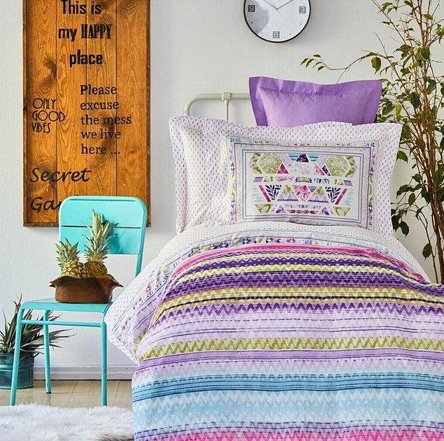 6. Karaca Home'un Moddy nevresim takımı da renkleri ve tarzıyla muhteşem!