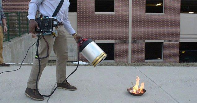 15. Sesle çalışan yangın söndürme cihazı