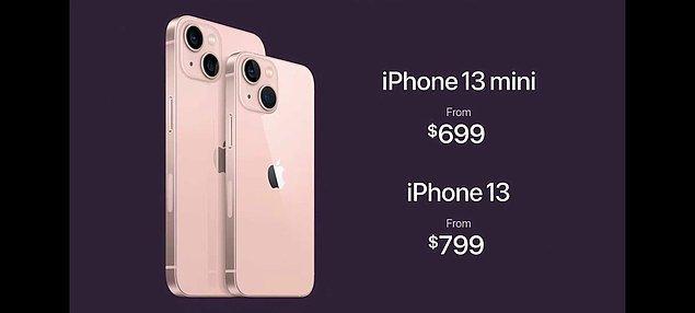 Şimdi de geleli fiyatlara... iPhone 13 799 dolar, iPhone 13 mini ise 699 dolardan satışa sunuluyor. Türkiye fiyatlarıysa şu şekilde: