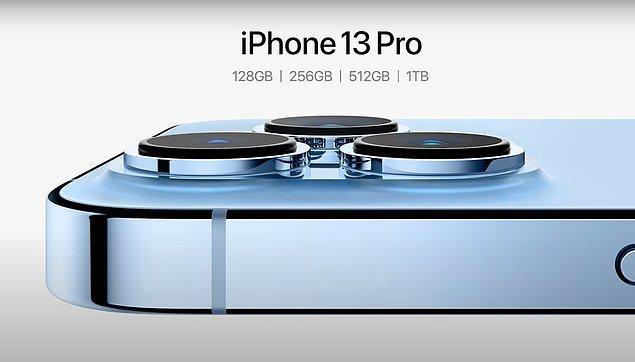 iPhone 13 Pro 128, 256, 512 GB ve 1 TB saklama alanı seçenekleriyle geliyor. Türkiye fiyatlarıysa şu şekilde: