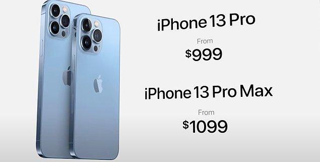 Fiyatıysa 999 dolar. iPhone Pro Max'in fiyatı da 1099 dolar.