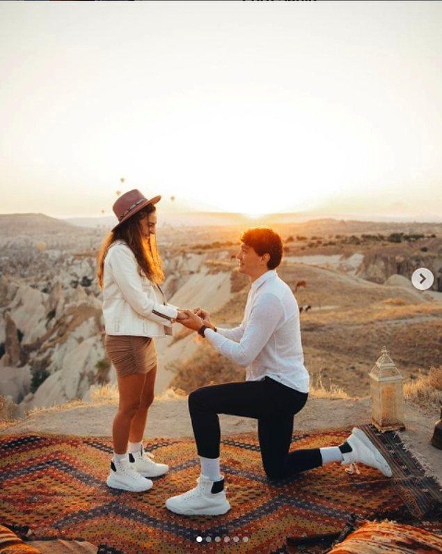 Cedi Osman, dün Kapadokya'da, günün ilk ışıklarında sevgilisi Ebru Şahin'e evlilik teklifi etti!