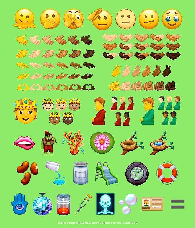 Her sene Unicode Consortium tarafından çeşitli onaylardan geçerek finale kalan emojilerin bu seneki adayları da belli oldu! Emojipedia tarafından paylaşılan Unicode 14.0 emojileri şu şekilde;