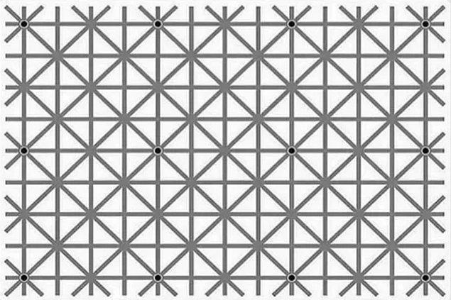 6. Bu fotoğrafta 12 adet siyah nokta var ancak hiçbir zaman aynı anda hepsini göremiyormuşsunuz.