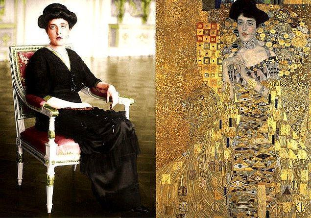 8. 1907 yılında Gustav Klimt imzalı o meşhur tablonun asıl ilham kaynağı olan Adele Bloch-Bauer: