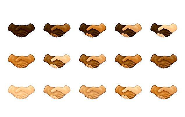 Unicode, bu listenin 2014'ten beri olduğu gibi bireylerin çeşitliliği göz önüne alınarak tasarlandığını not düştü. Bu yüzden el sıkışma emojileri birçok farklı renk tonunda hazırlandı.