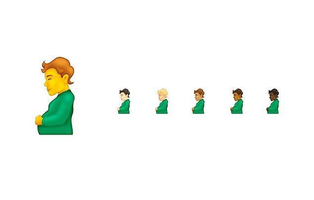 Hamile erkeğe ek olarak 'hamile birey' adı verilen bu emojinin de cinsiyetsiz olması amaçlandı;