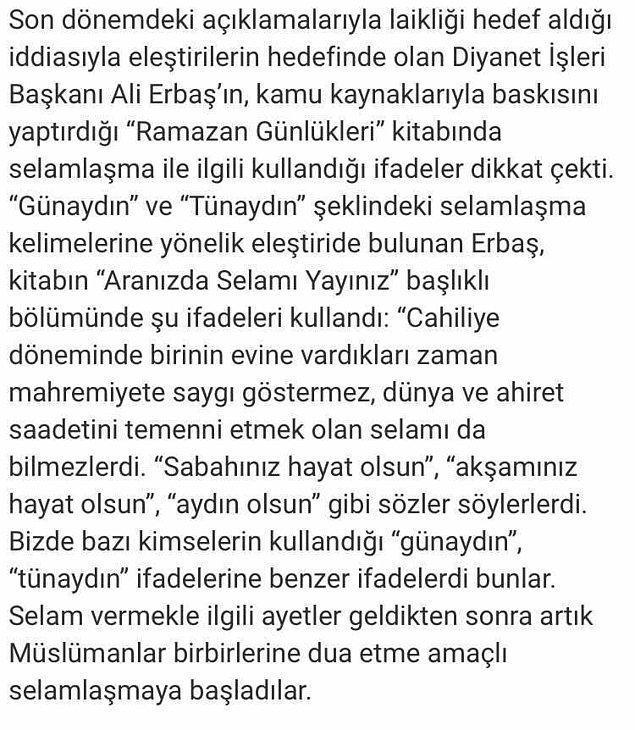 t24'ün haberine göre Erbaş'ın 2019 yılında kamu kaynakları kullanılarak basılan kitabında şu ifadeler bulunuyor.