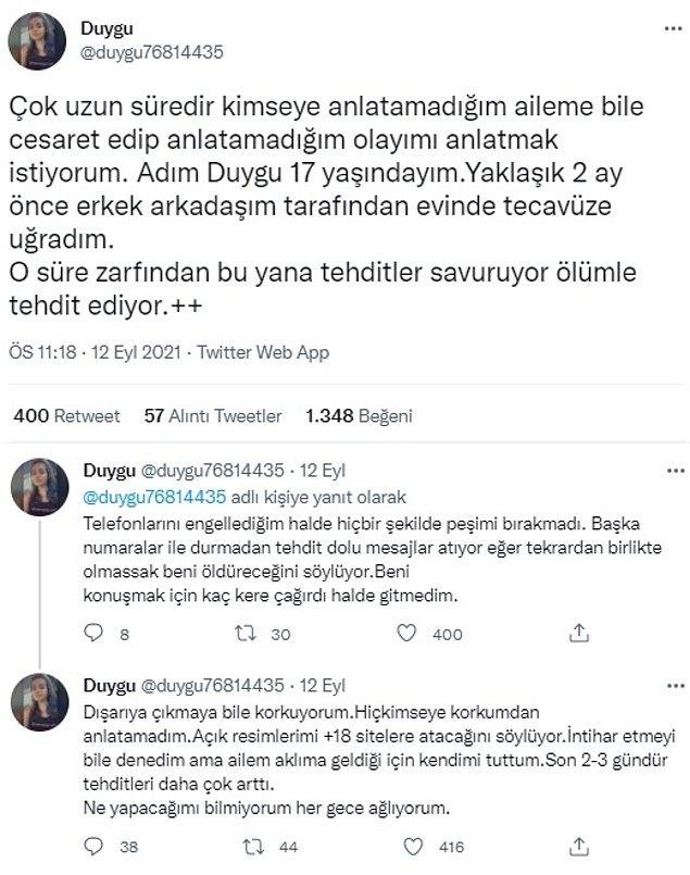Geçtiğimiz günlerde yine böyle bir paylaşıma denk geldik. İsminin Duygu olduğunu söyleyen bir kadın profili kendisine tecavüz edildiğini ve ölüm tehditleri aldığını iddia etti.