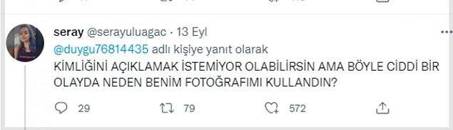 """Tabii bu mesajı görene kadar... """"Seray"""" isimli bir kadın paylaşımın altında Duygu'nun kendi fotoğrafını kullandığını belirtti."""