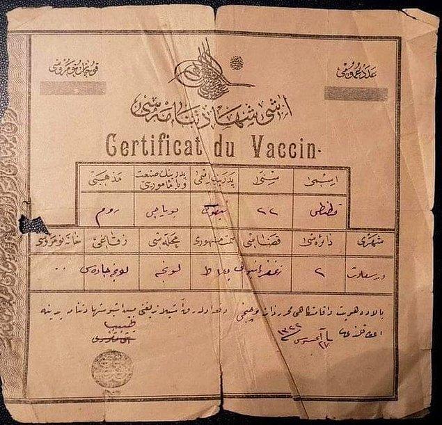 15. Ve son olarak, Osmanlı döneminden kalma bir aşı karnesi: