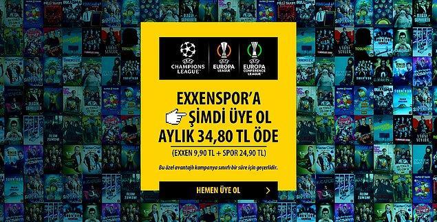 Exxen'de UEFA Şampiyonlar Ligi, UEFA Şampiyonlar Ligi ve UEFA Konferans Ligi maçlarını kapsayacak olan spor paketi, ek pakete ilave olarak 24,90 TL ile izlenebilecek.