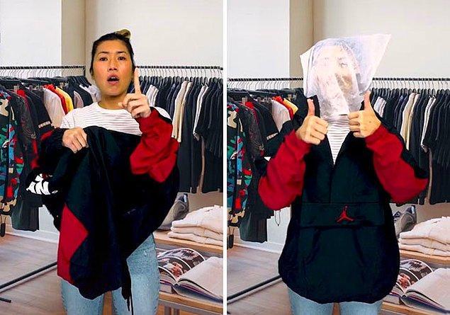 2. Mağazada yüzünüzü kapatacak şekilde kıyafet deneyin. Bu kıyafeti makyajla kirletmenizi önler.