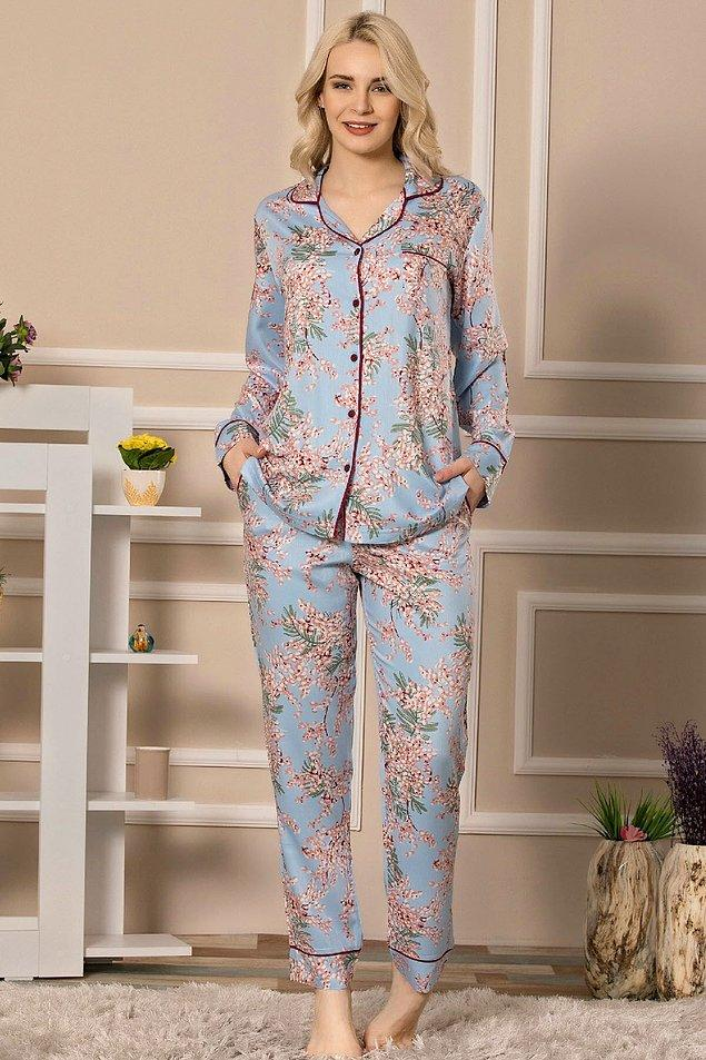 10. Pamuk saten uzun kollu pijama takımı çok zarif ve yumuşacık...