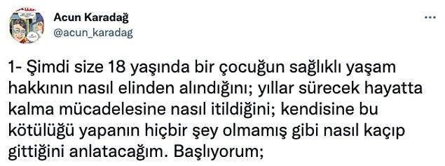 """Twitter'da """"@acun_karadag"""" adlı kullanıcı, hem içimizi paramparça eden hem de asla şaşırmayacağımız bir Türkiye gerçeğini yüzümüze vurdu. 👇"""