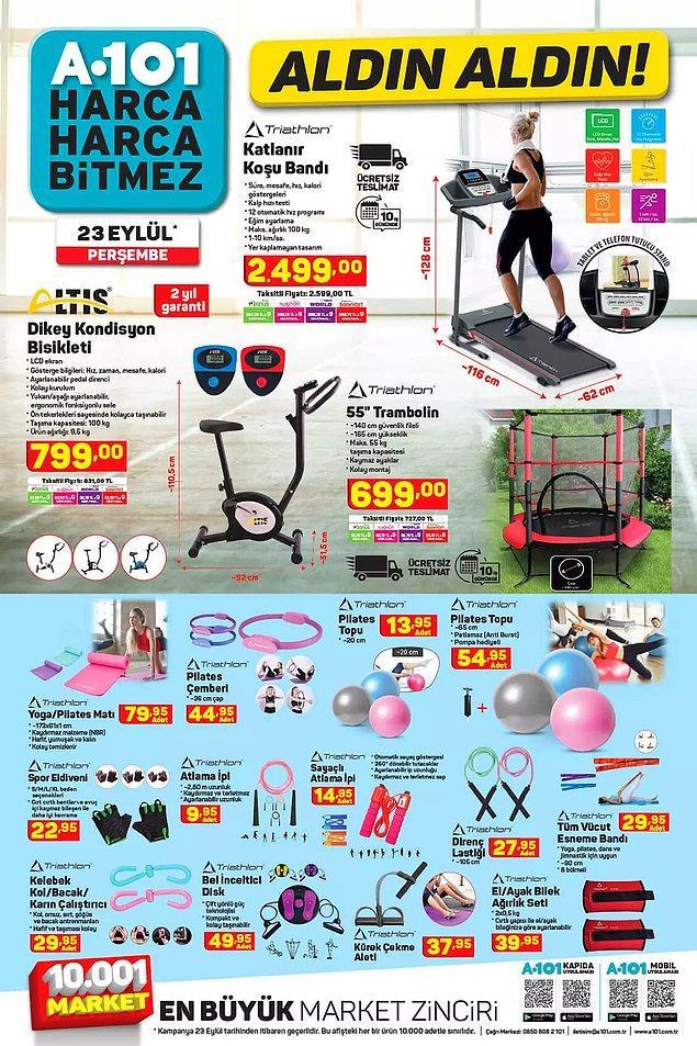 Evde spor yapabilmeniz için ihtiyacınız olabilecek hemen hemen her şey satışta olacak;