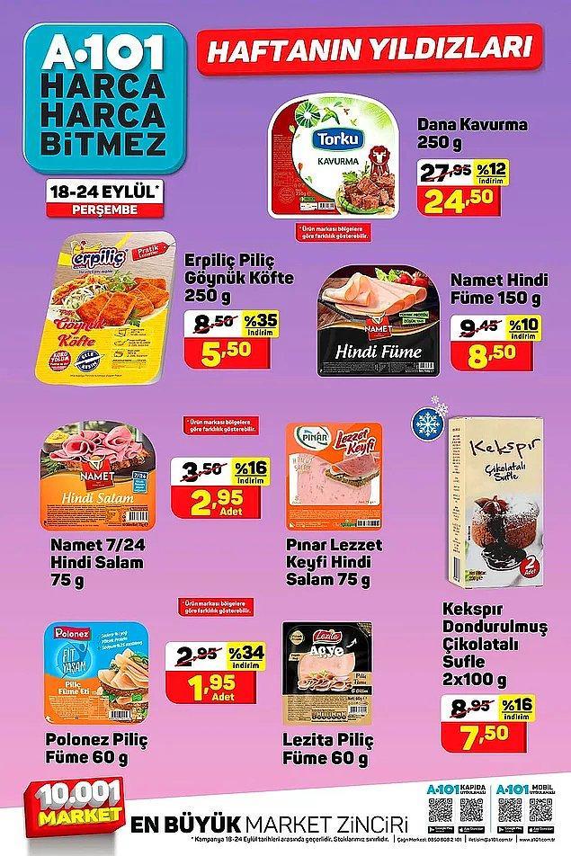 Bazı hindi salam ve piliç fümelerde indirimler olacak. Fakat markaları mağazaya göre değişiklik gösterecek.