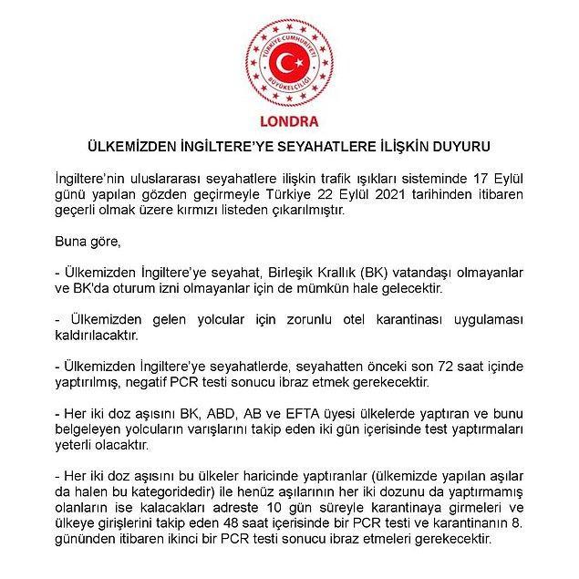 Türkiye'nin Londra Büyükelçiliği'nin açıklamasında şu maddeler yer aldı: