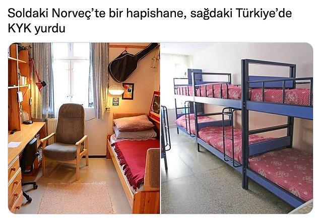 Hatta Cumhurbaşkanı Erdoğan'ın battıklarını iddia ettiği İskandinav ülkelerindeki hapishaneler çok daha iyi konumda.