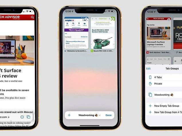 2. iPhone'ların arama motoru olan Safari'nn görünüşü oldukça değişti. Tek elle kullanıma uygun hale getirilen Safari'de artık aramalar ve kontrol alt kısımdan yapılacak.