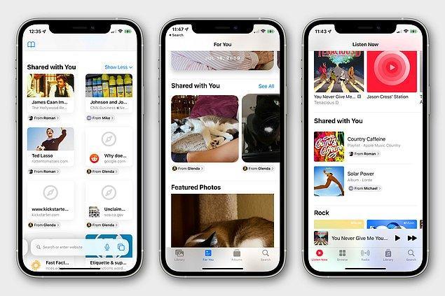 4. 'Sizinle Paylaşılanlar' özelliği ile mesajlardan size gönderilen fotoğraflar ve linkler otomatik olarak kaydedilecek.