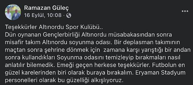 Eryaman Stadyumu Müdürü Ramazan Güleç ve çalışan personeller, Altınordu FK'ya teşekkürlerini gösteren bir paylaşım yaptılar.
