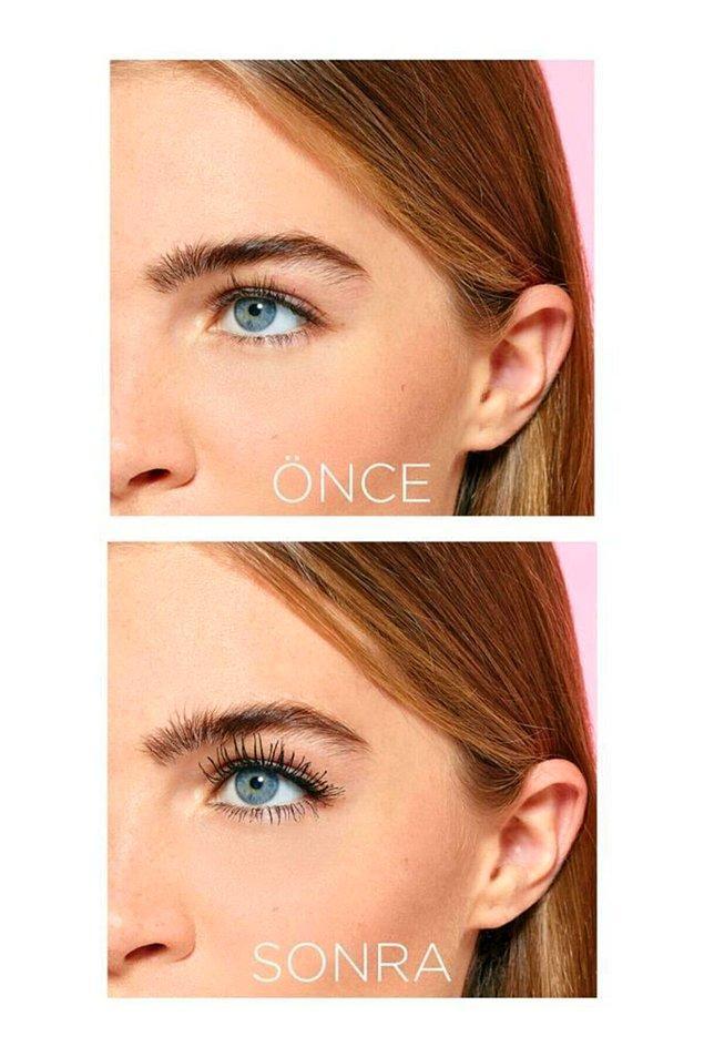 3. Ceylan gibi gözlere sahip olmak isteyenlerin tercihi L'oreal Bambi Eye maskara! Elbette ekstra siyahı!