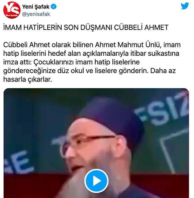 Yeni Şafak: İmam hatiplerin son düşmanı Cübbeli Ahmet