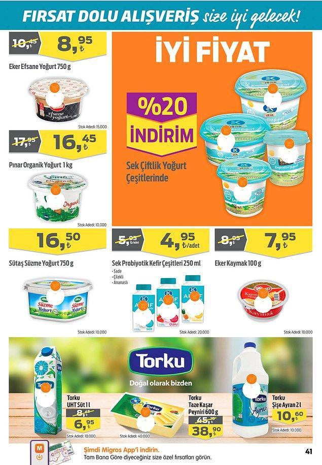 25. Sek Probiyotik Kefir (250 ml) çeşitleri 4,95 TL.