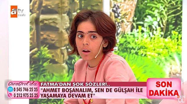 """Duyduklarına inanamayan Fatma da canlı yayında Ahmet'e  """"Ahmet boşanalım, sen de Gülşah ile yaşamaya devam et"""" diyerek isyan etti."""