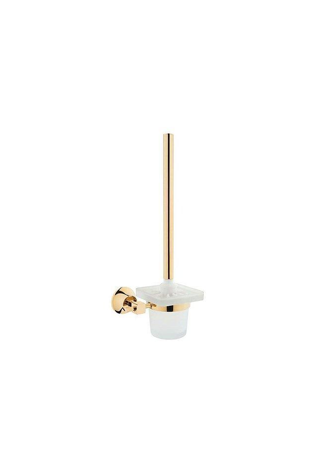 4. Duvara monte edeceğiniz altın detaylı tuvalet fırçası; hem şık bir dekor hem de temizlik ürünü…
