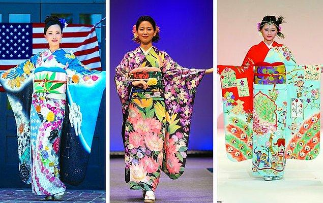 1. Olimpiyat Oyunları sırasında ABD, Güney Afrika ve Hindistan için tasarlanmış kültürel Japon kıyafeti olan kimonalar.