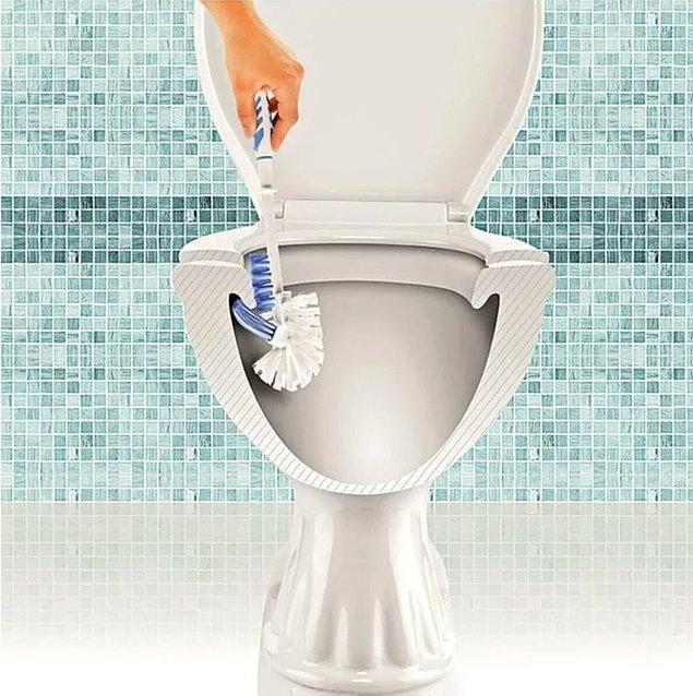9. Bir yanı normal fırça formundayken diğer yanı klozetin erişilemeyen kenarlarına girebilecek şekilde tasarlanan bu fırçayla tam anlamıyla temizliğin keyfine varacaksınız!