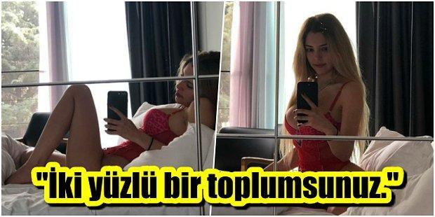 Jartiyerli Pozları Yüzünden Linç Edilen Aygün Aydın, Gelen Eleştirilere Sütyenli Fotoğraflarıyla Cevap Verdi!