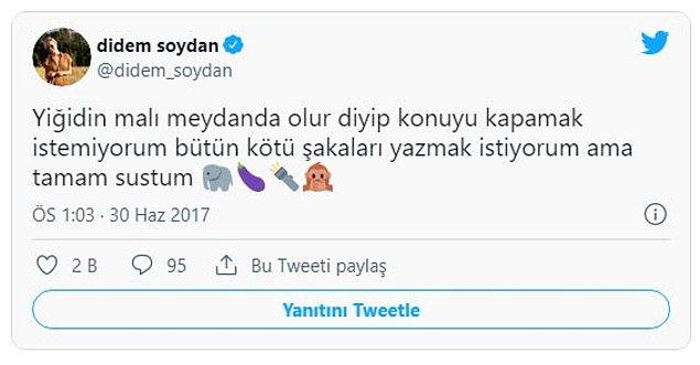 Didem Soydan takipçilerine fırsat vermeden fotoğrafı hakkında bir sürü tweet atmıştı.