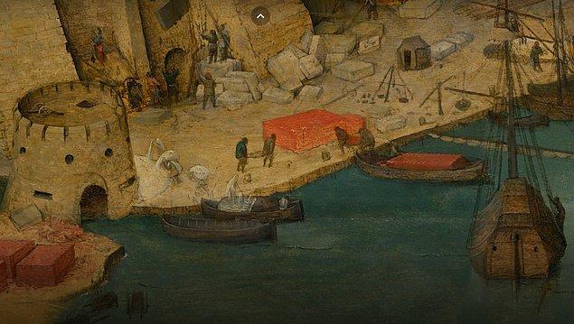 Bruegel, limanda inşaat malzemesi taşıyan işçi detaylarıyla sahip olduğu olağanüstü teknik ve mekanik konularda bilgisini ve yeteneğini gözler önüne seriyor.