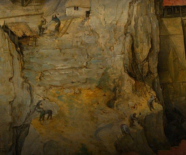Ressamın eklediği kayalık yamaç sayesinde ise resimde durağan denge hali yaratılıyor.