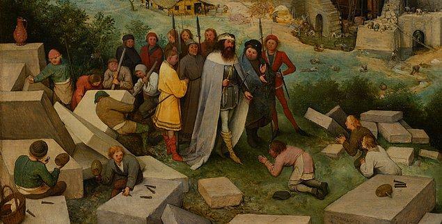 Resmin sol alt köşesinde muhitiyle beraber duran kişi Sümer kralı Nemrud. Adı kutsal kitaplarda geçmeyen kralın kuleyi inşa etmek isteyen kişi olduğunu kanıtlayan ise tarihçi Flavius Josephus oluyor.